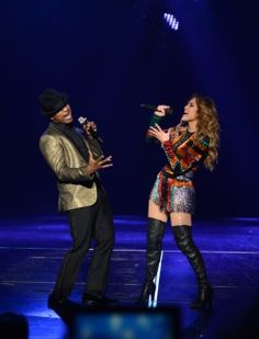 """Ne-Yo joins Jennifer Lopez to perform at her resident show, """"All I Have,"""" at Planet Hollywood Resort in Las Vegas. Photo credit: Denise Truscello"""