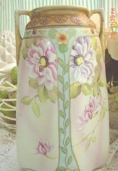 Nippon Porcelain Vase Hand Painted Cottage by EstateSaleTreasure, $44.28