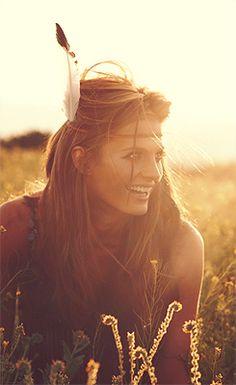 bohemian beauty | bathing in golden sunlight | feather headdress | boho | www.republicofyou.com.au