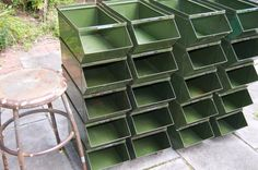 Large Vintage Industrial Green Metal Stackable by VintageKool