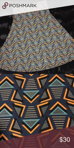 LulaRoe NWOT Azure skirt, M NWOT, Azure skirt is crazy-versatile. Multi color. Scroll thru pictures for ideas on how to wear Azure. Check out the halter top. Yes, please. First two pictures are actual skirt. The others are clipped from internet.  So cute! Smoke & pet-free. LuLaRoe Skirts Midi
