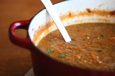 Lentil Soup - Like to serve with a dollup of greek yogurt (mixed with a teaspoon of chipotle adobo puree).
