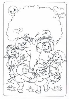 * Buiten dansen-spelen-zingen: Earth Day Coloring Pages, Coloring Pages For Kids, Coloring Sheets, Coloring Books, Art Drawings For Kids, Drawing For Kids, Art For Kids, Tree Day, Picture Composition