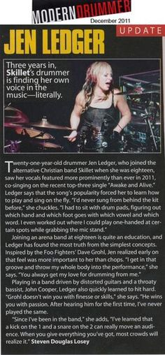 "Skillet's Jen Ledger Featured in ""Modern Drummer"" - Skillet Photos"