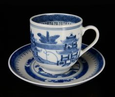 18th C. Chinese Export Canton Blue & White Teacup
