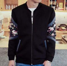 Splicig flower bomber jacket for men plus size clothing