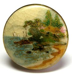 Japanese Satsuma Button w/Hand Painted Harbor Scene