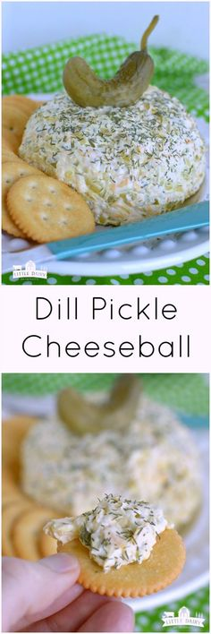 Pickle Cheeseball (Easy Appetizer) Dill Pickle Cheeseball is a super easy appetizer that will be a winner at any party!Dill Pickle Cheeseball is a super easy appetizer that will be a winner at any party! Finger Food Appetizers, Yummy Appetizers, Appetizers For Party, Appetizer Recipes, Snack Recipes, Cooking Recipes, Dill Pickle Recipes, Finger Foods For Party, Salad Recipes