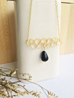Brianna #goldfilled #onix #jewelry #handmade # necklace #pendant