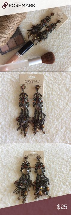 """Mixed media glam earrings One of a kind! Bought in the 🇬🇧 UK. Medley of faceted stones & fresh water pearls. Leather cord woven through chains creates an interesting one of a kind look. Definitely a show stopper!! Length- 4.5"""" Long. Great with off-the-shoulder tops or maxi dresses!! Jewelry Earrings"""
