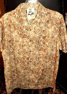 NWT SADDLEBRED $44 Mens Sz L Tropical Cruise Camp Beach Shirt  #Saddlebred #ButtonFront