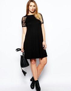 Swing Dress With Lace Raglan Sleeve Robe Swing, Swing Dress, Little Dresses, Cute Dresses, Plus Size Kleidung, Lace Sleeves, Plus Size Outfits, Plus Size Fashion, Lace Dress