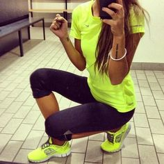 #workout clothes Cute neon yellow matching shirt and shoes