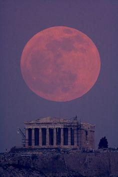 Moon over the Parthenon.  Athens, GREECE.