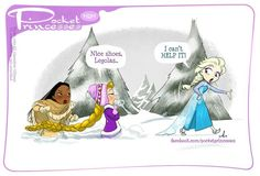 Girls trekking through the snow. Elsa makes it look so easy while Rapunzel and Pocahontas struggle. I love how Punzie's hair is being used as a rope.