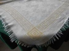 WHITE AND YELLOW DAMASK TABLECLOTH WITH A FRINGE (SUPER SALE ITEM) VINTAGE 1930
