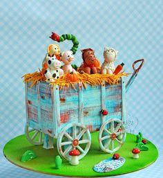 Farm animals on jolly ride .. - Cake by Hima bindu