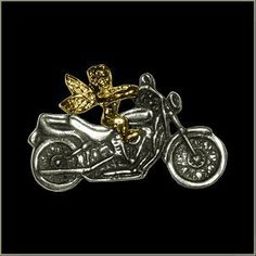 Guardian Angel Biker Pin by All American Gremlin Bells. $4.00. American made Motorcycle with Guardian Angel Pin