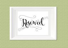 8x10 Wedding Sign - Downloadable - Printable - Digital Art Print - Hand Lettered - Reserved Seating Sign by LMLettering on Etsy