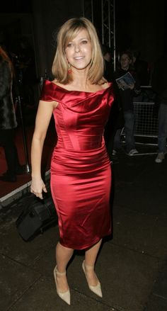 Kate Garraway wears a long red satin sheath dress Satin Dresses, Tight Dresses, Silk Dress, Sexy Dresses, Cute Dresses, Dress Skirt, Short Dresses, Bodycon Dress, Party Dresses