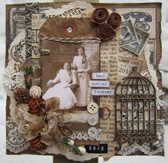 Lovely collage by Anne Gro at min lille scrappe-verden. Sepia tones add to the vintage feel. Heritage Scrapbook Pages, Vintage Scrapbook, Scrapbook Page Layouts, Scrapbook Cards, Vintage Crafts, Vintage Ephemera, Paper Art, Paper Crafts, Mixed Media Scrapbooking