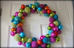 Yarn Ball Wreath- perfect for knitters & crocheters!