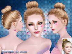 Chignon hair 184 by Skysims - Sims 3 Downloads CC Caboodle