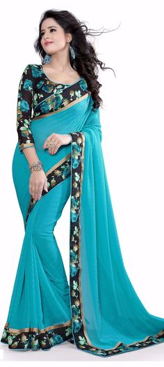 702021: Blue color family Party Wear Sarees with matching unstitched blouse.