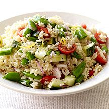 WW Brown Rice Salad with Tomatoes and Sugar Snap Peas:  6 servings; 4 points+ per serving