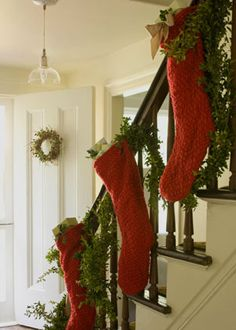 If you don't have a mantle, hang your stockings on your stairs!