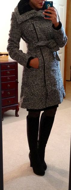 Love this jacket...Express Rib Trimmed Wool Blend Coat  (Here in gray)