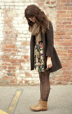 Big flowers, big scarf, coat, tights, boots.