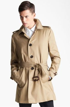 $1,295, Tan Trenchcoat: Burberry London Britton Single Breasted Trench Coat. Sold by Nordstrom. Click for more info: https://lookastic.com/men/shop_items/82170/redirect