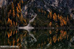 """""""Foliage reflection at Braies lake"""" - (Foliage e riflessi al lago di Braies)    Italian mountain landscape photography of foliage at Braies Lake (Braies - Alta Pusteria - Dolomiti - Italy)  © Roberto Carnevali"""