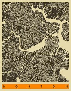 Boston Map Art Print, Jazzberry Blue