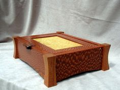 Lacewood (leopardwood) and Mahogany Valet, Jewelry Box, or Keppsake Box with Myrtle Burl Panel