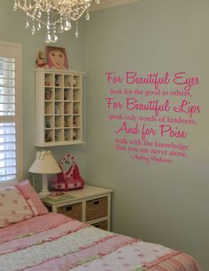 Audrey Hepburn Quote Beautiful Eyes, Beautiful Lips, And Poise Vinyl Wall Art Decal. $32.00, via Etsy.