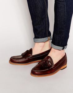 $226, Burgundy Leather Tassel Loafers: G.H. Bass Gh Bass Tassel Loafers. Sold by Asos. Click for more info: http://lookastic.com/men/shop_items/238158/redirect