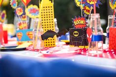 Guest tablescape from a Calling All Superheroes Birthday Party on Kara's Party Ideas | KarasPartyIdeas.com (14)