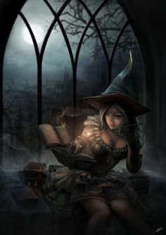 gothic sexy witch casting a spell.