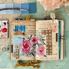 """Estelle's Happy Journaling ! on Instagram: """"July 4th bis spread with a mix of collage, acrylic and gouache 🌸 Happy Journaling Friday ! 🌸 🌸 🌸 #planner #traveljournal #journallove…"""" Visual Journals, July 4th, Gouache, Journaling, Collage, Friday, Bullet Journal, Happy, Instagram"""