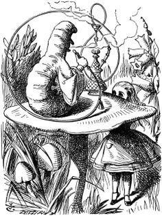 Alice's Illustrated Adventures In Wonderland: Chapter 4 ~ The Rabbit Sends In A Little Bill: She stretched herself up on tiptoe, and peeped over the edge of the mushroom, and her eyes immediately met those of a large blue caterpillar, that was sitting on the top with its arms folded, quietly smoking a long hookah, and taking not the smallest notice of her or of anything else. (...) `Who are YOU?' said the Caterpillar.