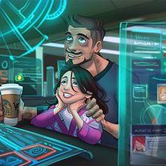 Marvel Art, Marvel Avengers, Familia Stark, Stark Family, Marvel Cartoons, Cute Borders, Iron Man Armor, Anime Family, Young Avengers