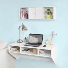 SoBuy Wandtisch, Schreibtisch Computertisch, mit Wandschrank,FRG99-W+FWT14-W…
