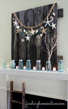 Beautiful summer mantel