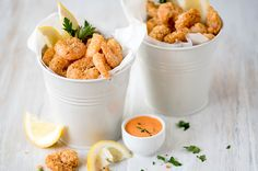 Triple Coated Popcorn Prawns - There is something just so delicious about crispy seafood, and there is no need to deep-fry it to get it that way.