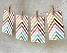 Colorful chevron cards