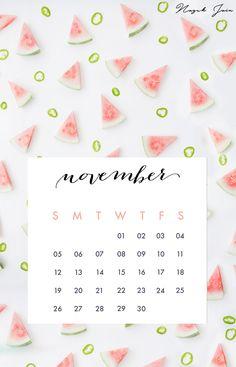 November - Free Calendar Printables 2017 by Nazuk Jain