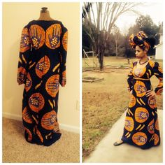 Maxi dress African print Orange and dark blue print long maxi dress with bell sleeves with elastic size 14 plus size handmade Dresses Maxi