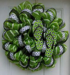 Lime Green  White Striped Black Polka Dot Flip Flop Mesh Wreath